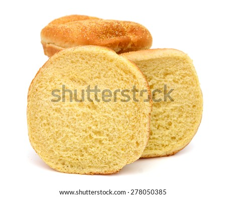 sesame sandwich buns isolated on white  - stock photo