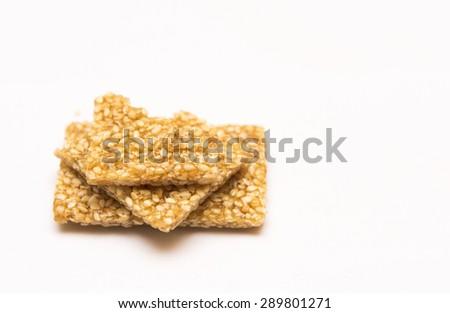 sesame seed honey bar,Sweet sesame snack - stock photo