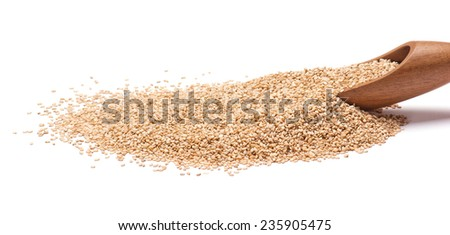 Sesame Seeds and wooden scoop isolated on white background - stock photo