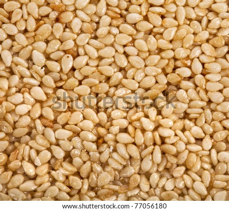 sesame seeds in syrup - stock photo