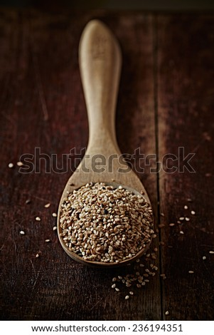 Sesame seeds on a wooden spoon - stock photo