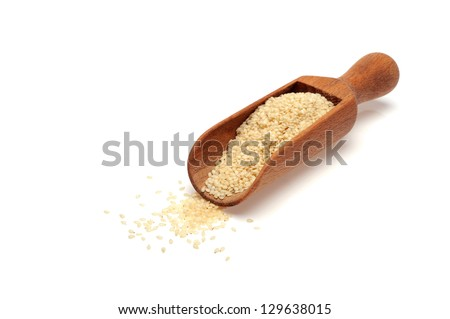 Sesame seeds on the white background - stock photo