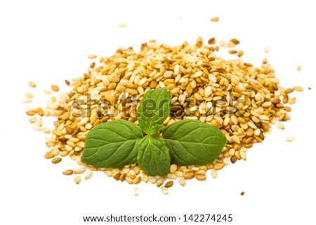 Sesame seeds studio macro shoot - stock photo