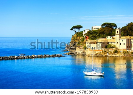 Sestri Levante silence bay or Baia del Silenzio sea harbor and and trees on the rocks on morning. Liguria, Italy. - stock photo