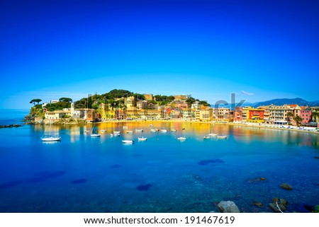 Sestri Levante silence bay or Baia del Silenzio sea harbor and beach view on morning. Liguria, Italy. Long Exposure - stock photo