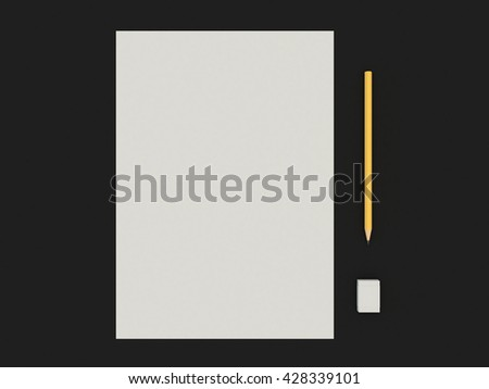 Set a paper with a pencil and eraser. A simple kit of drawing on the black table background. High resolution 3d illustration - stock photo