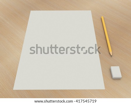 Set a paper with a pencil and eraser. A simple kit of drawing on the wooden table background. High resolution 3d illustration - stock photo