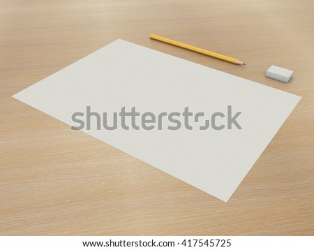 Set a paper with a pencil and eraser. A simple kit of drawing on the wooden table background. High resolution 3d illustration