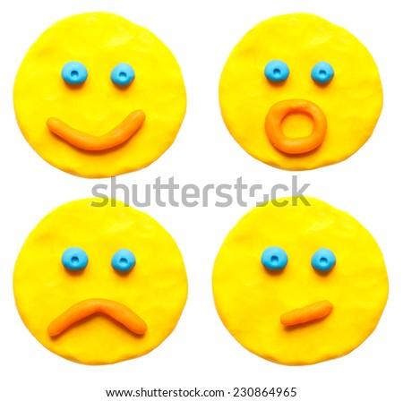 Set a plasticine face - stock photo