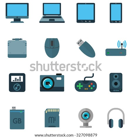 Set a variety of techniques Devices in  a flat style