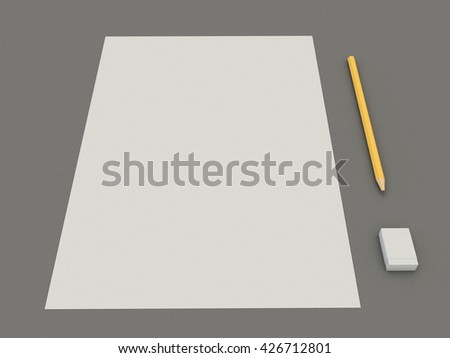 Set a white paper blank with a pencil and eraser. A simple kit of drawing on the gray table background. High resolution 3d illustration - stock photo