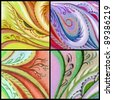 Set abstract artistic backgrounds. Picture, pastel, hand-draw on paper - stock photo