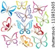 Set abstract butterflies, coloured contour silhouettes on white background - stock vector