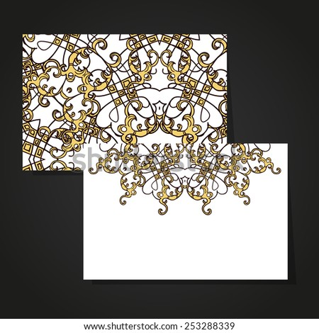 Set abstract card, card or invitation with Islam, Arabic, Indian, ottoman motifs.