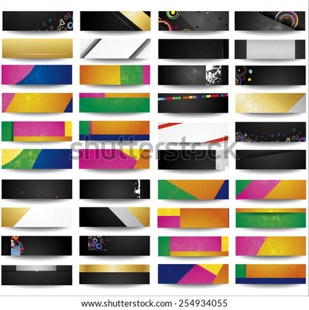 Set Abstract horizontal headers - stock photo
