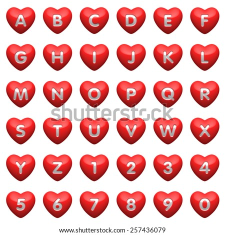 Set - alphabet from hearts. There is a clipping path - stock photo