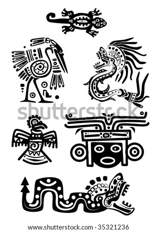 Set - American Indian national patterns - stock photo