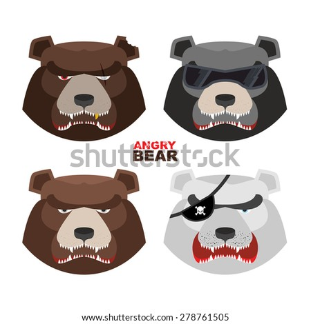 Set angry bears. For logo and emblem sport club. Bear's mouth with fangs - stock photo