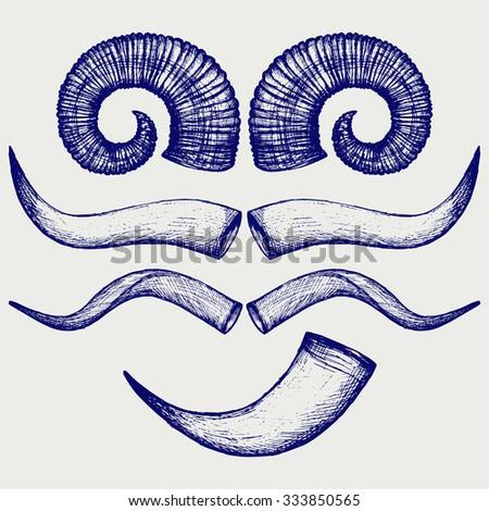 Set animal horns. Doodle style. Raster version - stock photo