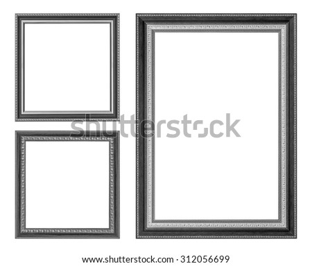 set antique  frame isolated on the white background - stock photo