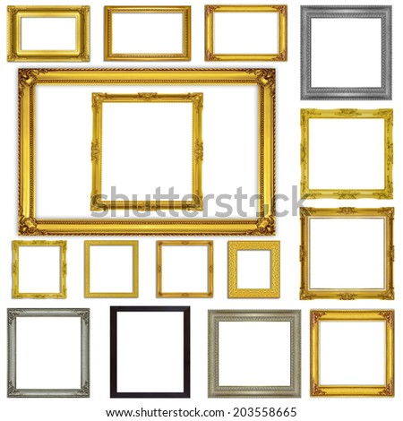 Set antique frames isolated on white background - stock photo