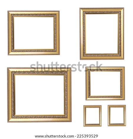 Set antique vintage frame On white background