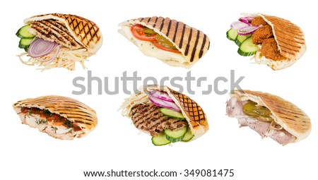 set arabian grilled hot fast food - meat with vegetables in pita - stock photo