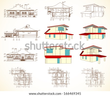 Set architectural objects - stock photo