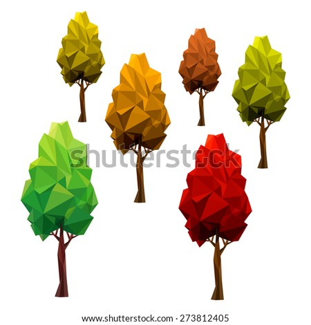 SET autumn trees. Tree abstract isolated on a white background (illustration of a many triangles) - stock photo