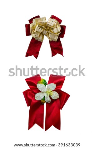 set B : Red ribbon bows isolated on white