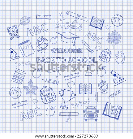 Set Back to school on the notebook sheet with hat graduate scroll, apple, books, flasks, basketball, alarm clock, briefcase, backpack, school bus, globe, ruler microscope