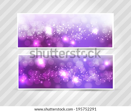 Set banners abstract blurred with bokeh effect, glittery lights purple abstract Christmas background. Raster image.