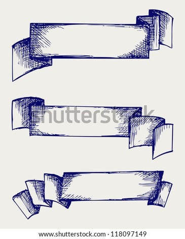 Set banners and ribbons. Doodle style. Raster - stock photo