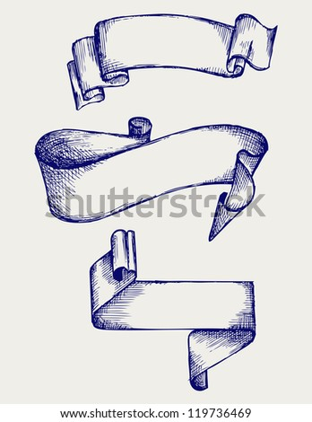 Set banners and ribbons. Doodle style. Raster version - stock photo