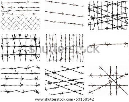Set barbed wire fence protection isolated on white for background texture - stock photo
