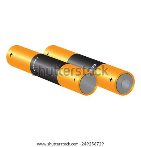 set battery isolated on white background raster - stock photo