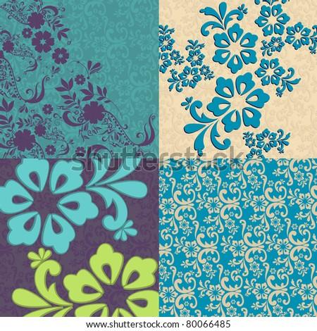 Set beautiful floral background illustrations - stock photo