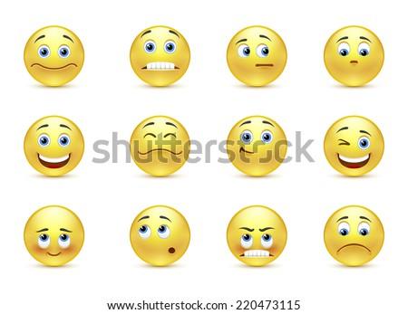 set beautiful smiles - stock photo