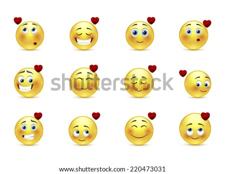 Set beauty valentine emoticons in love - stock photo