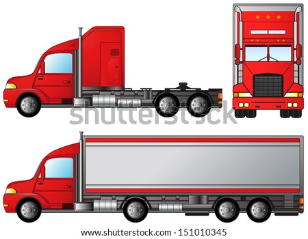set big american truck on white background