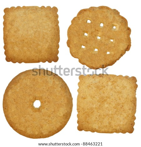 set biscuits isolated on white background - stock photo