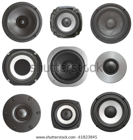 Set black acoustic speaker with sphere. Isolated