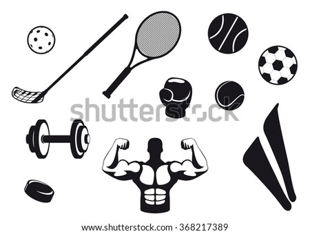 Set black and white sport icons. Various types sports equipment. Icons for the various types of sports. Sports Icons with white background. - stock photo