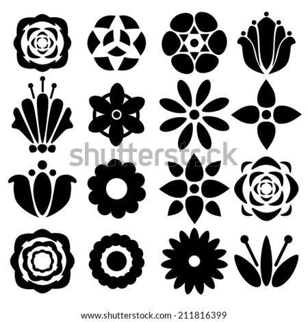 Set black silhouettes flowers isolated on a white background. Floral icons.Tattoo. Abstract design logo. Logotype art - raster version - stock photo