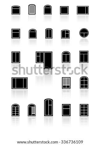 set black windows with mirror reflection silhouette - stock photo