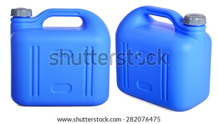 Set blue plastic canister isolated on white