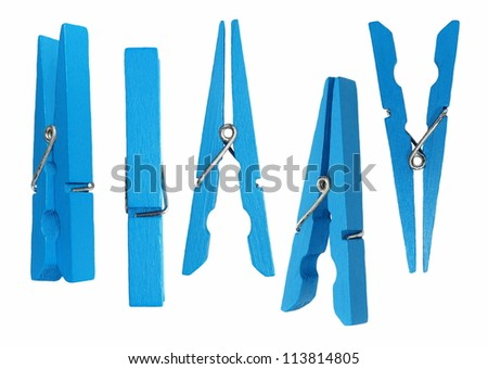 Set blue wooden clothespin isolated on white background - stock photo