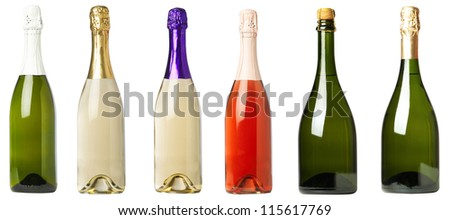 Set 6 bottles of wine with black labels isolated on white background