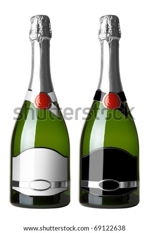 Set 2 bottles of wine with white and black labels isolated on white background.More - in my portfolio - stock photo