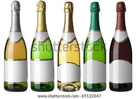 Set 5 bottles of wine with white labels isolated on white background. More - in my portfolio - stock photo
